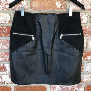 H&M Divided black faux suede & leather mini skirt
